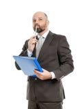 Uomo di affari con la cartella blu Fotografia Stock Libera da Diritti