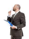 Uomo di affari con la cartella blu Fotografia Stock