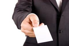 Uomo di affari con la cartolina d'auguri Fotografie Stock Libere da Diritti