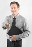 Uomo di affari con la lavagna per appunti Fotografie Stock Libere da Diritti