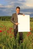 Uomo di affari con la lista in bianco Fotografie Stock Libere da Diritti