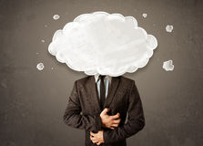 Uomo di affari con la nuvola bianca sul suo concetto capo Fotografia Stock Libera da Diritti