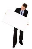 Uomo di affari con la scheda bianca Fotografia Stock Libera da Diritti