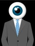 Uomo di affari con la testa del bulbo oculare Fotografia Stock Libera da Diritti