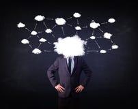 Uomo di affari con la testa della rete della nuvola Immagini Stock Libere da Diritti