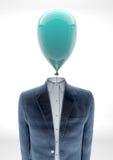 Uomo di affari con la testa di aerostato Fotografia Stock Libera da Diritti