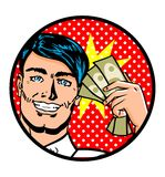 Uomo di affari con le banconote Fotografie Stock Libere da Diritti