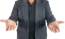 Uomo di affari con le mani aperte su bianco Fotografia Stock