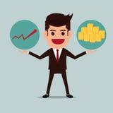 Uomo di affari con le pile dei soldi e del grafico Immagini Stock Libere da Diritti