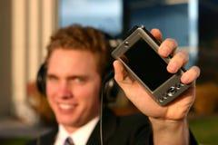 Uomo di affari con tecnologia Fotografia Stock