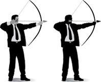 Uomo di affari con un arco Fotografia Stock Libera da Diritti