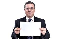 Uomo di affari con un documento in mani Fotografia Stock Libera da Diritti