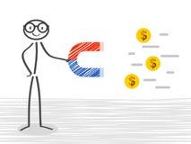 Uomo di affari con un magnete enorme che attira vettore soldi illustrazione vettoriale