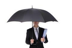 Uomo di affari con un ombrello Fotografia Stock Libera da Diritti