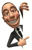 Uomo di affari con un segno in bianco Fotografia Stock Libera da Diritti