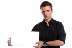 Uomo di affari con una scheda bianca vuota Immagine Stock Libera da Diritti