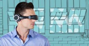 Uomo di affari in cuffia avricolare di realtà virtuale contro le finestre disegnate a mano blu Immagine Stock