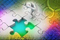 uomo di affari 3d con il pezzo di puzzle Fotografia Stock