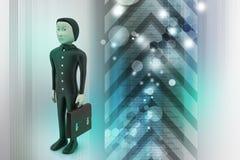 uomo di affari 3d con la cartella Fotografie Stock Libere da Diritti