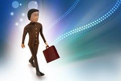 uomo di affari 3d con la cartella Immagine Stock