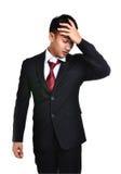 Uomo di affari di preoccupazione isolato Fotografie Stock