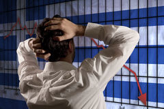 Uomo di affari disperato per la crisi greca Fotografie Stock
