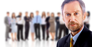 Uomo di affari e la sua squadra isolati Immagine Stock