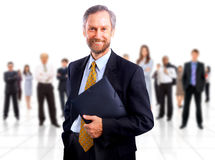 Uomo di affari e la sua squadra isolati Fotografia Stock Libera da Diritti