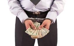Uomo di affari in manette arrestate per il dono Immagini Stock Libere da Diritti