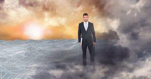 Uomo di affari nel paesaggio 3d dell'oceano tempestoso Fotografia Stock