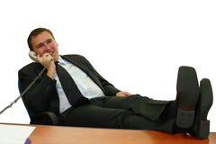 Uomo di affari nel suo ufficio Immagini Stock Libere da Diritti