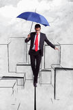 Uomo di affari nell'equilibrio sopra la città illustrata Immagini Stock Libere da Diritti