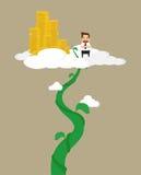 Uomo di affari per scalare il gambo di una pianta di fagioli ad ultimo successo, orgoglio immagine stock