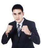 Uomo di affari pronto per una lotta Fotografia Stock Libera da Diritti