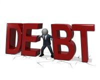 Uomo di affari schiacciato dal debito Immagine Stock Libera da Diritti