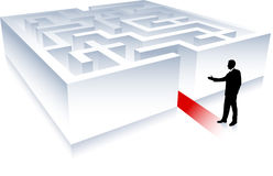 Uomo di affari su priorità bassa con labirinto Immagini Stock