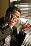 Uomo di affari su un telefono Fotografia Stock Libera da Diritti