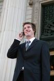 Uomo di affari sul telefono Fotografie Stock