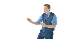 Uomo di affari in una posa di karatè Immagine Stock