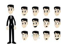 Uomo di affari in vestito nero con le espressioni multiple Fotografie Stock Libere da Diritti