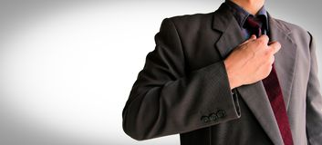 Uomo di affari in vestito pronto per la lotta fotografia stock libera da diritti