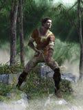 Uomo di Archer con l'arco e la freccia nel legno Fotografia Stock Libera da Diritti