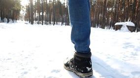 Uomo di camminata del piede della neve stock footage