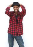 Uomo di colore con gridare del cappello Fotografie Stock Libere da Diritti