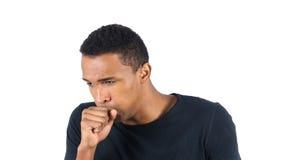 Uomo di colore malato che tossisce, tosse fotografia stock libera da diritti