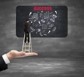 Uomo di concetto di successo sulle scale Immagine Stock Libera da Diritti