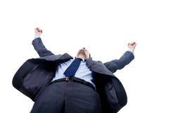 Uomo di conquista felice di affari Immagine Stock Libera da Diritti