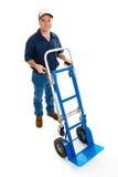 Uomo di consegna & carrello - ente completo Fotografia Stock