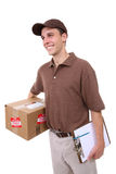 Uomo di consegna con il pacchetto immagini stock libere da diritti