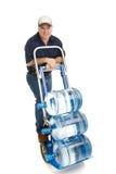 Uomo di consegna dell'acqua - amichevole Fotografie Stock